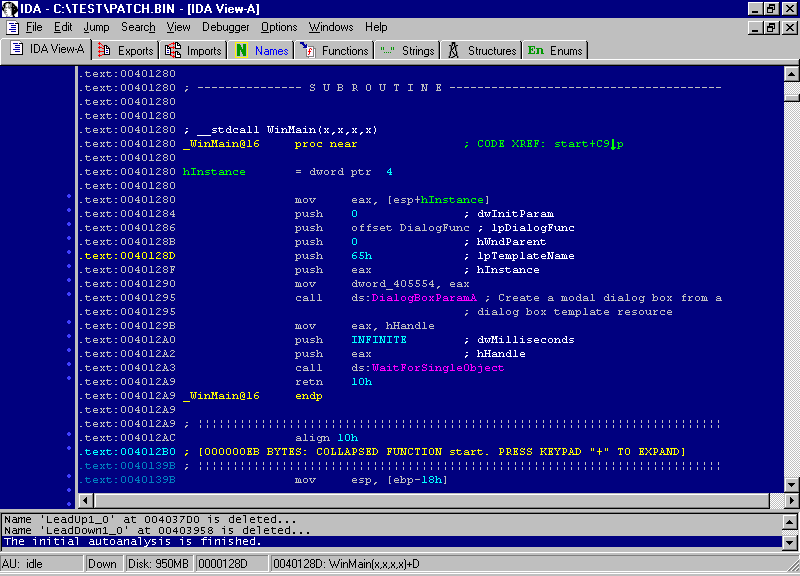 The WinMain() procedure displayed in the IDA disassembler.