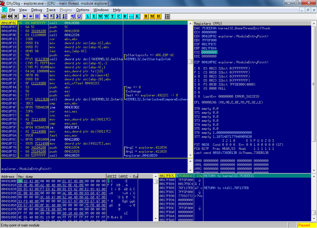 The same code in OllyDbg 2.01 debugger