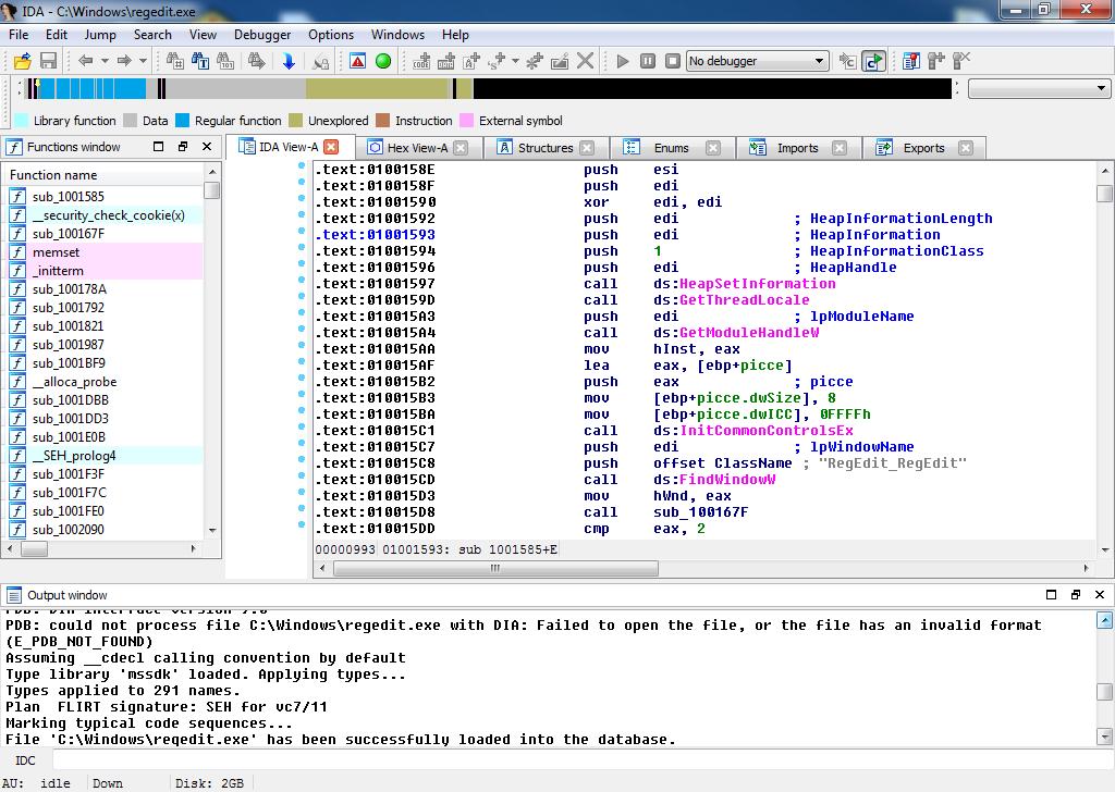 IDA's disassembler and decompiler's window