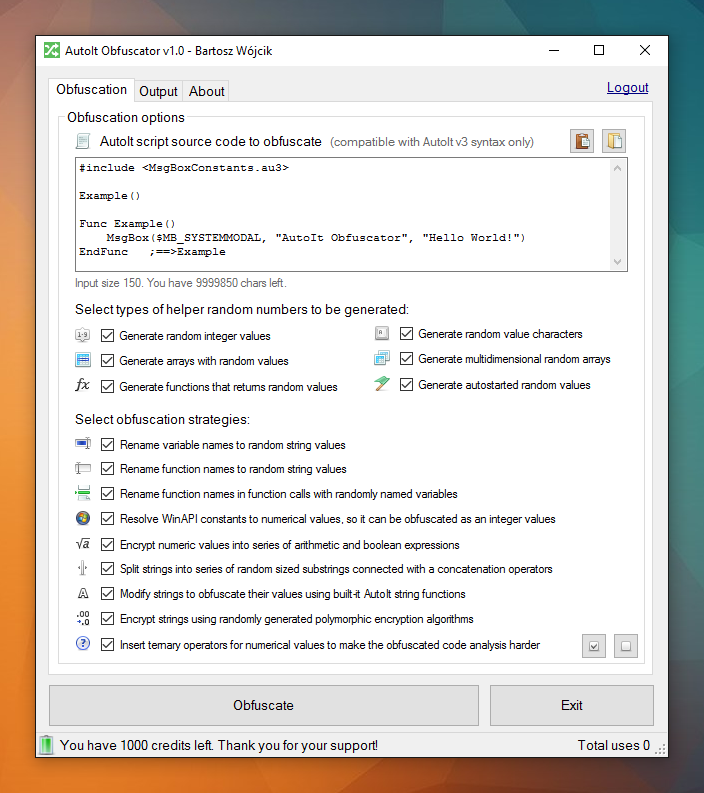 AutoIt Obfuscator v1.0 main window