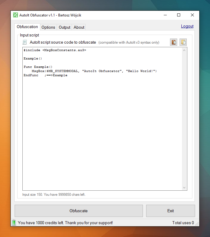 AutoIt Obfuscator v1.1 main window