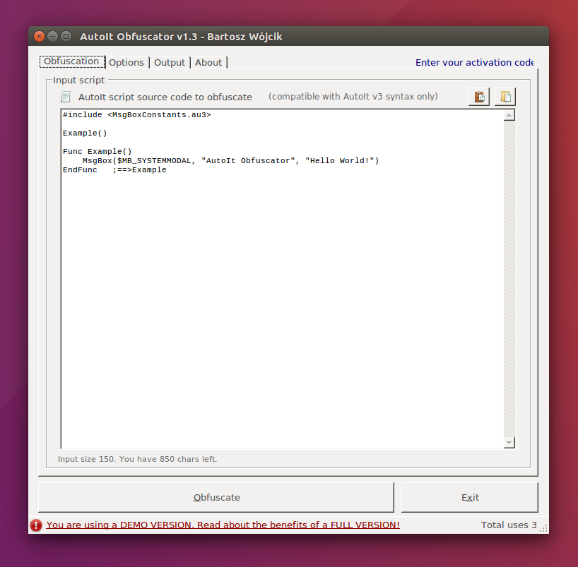 AutoIt Obfuscator v1.3 main window on Ubuntu Linux