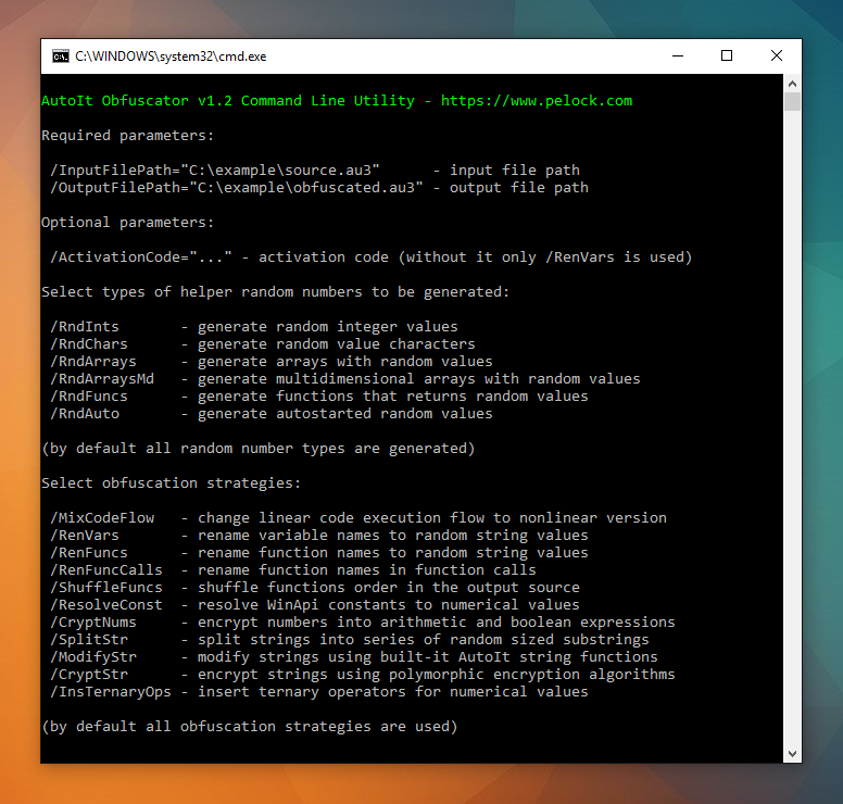 AutoIt Obfuscator command line version