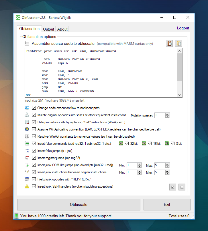 Obfuscator v2.3 main window