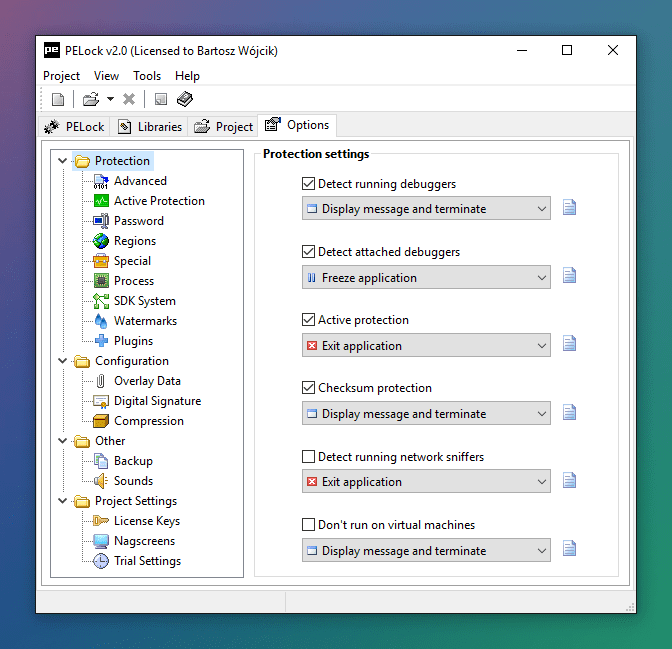 PELock Options Protection Settings