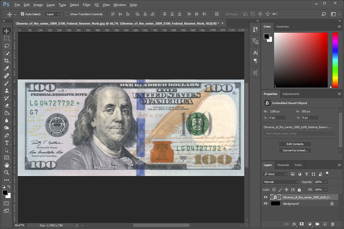 Photoshop how to open a banknote image with EURion constellation protection