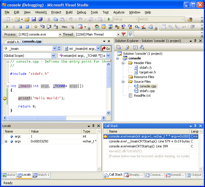 Debugger w Visual Studio